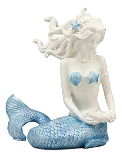 Ebros Beautiful Ocean Goddess Maya Blue Tailed Mermaid Holding Pearl Shell Statue Nautical Fantasy Mermaid Home Decor