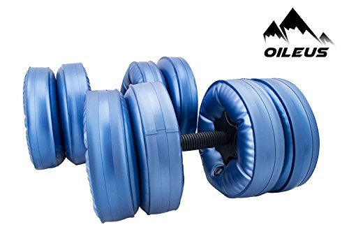 OILEUS Water Filled Travel Dumbbells - Portable, Adjustable Dumbbells Extended Handle - Perfect Workout Equipment Body Building Strength Training (Set of 2) by OILEUS