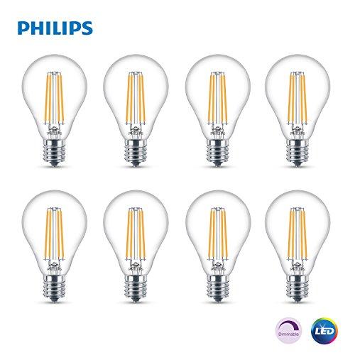 Philips LED Dimmable A15 Light Bulb: 500-Lumen, 2700-Kelvin, 5.5-Watt (60-Watt Equivalent), E17 Base, Clear, Soft White, 8-Pack 100 Watt E17 Medium Base