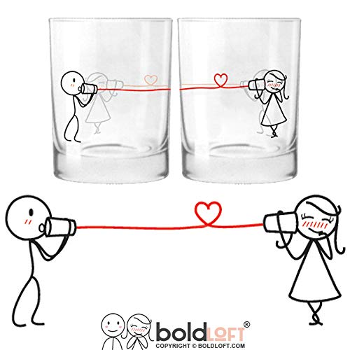 BOLDLOFT Say I Love You His and Hers Drinking Glasses-Christmas Gifts for Girlfriend or Wife, Christmas Gifts for Couples, Gifts for Her, Valentines Day Gifts for Her, Romantic Anniversary Gifts ()