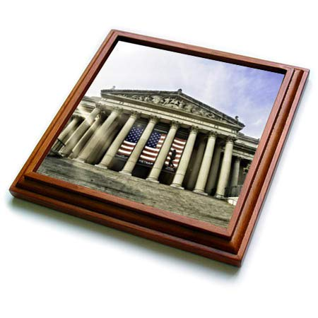 3dRose Boehm Graphics Travel - National Archives Building in Washington DC - 8x8 Trivet with 6x6 ceramic tile (trv_293979_1)
