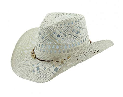 Vamuss Western Beach Toyo Straw Cowgirl Hat with Shell Button Trim (White)