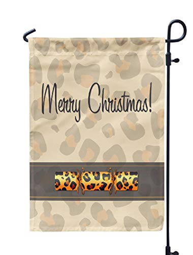 - Soopat Christmas Animal Seasonal Flag, Leopard Christmas Cracker Card Animal Christmas Cracker Weatherproof Double Stitched Outdoor Decorative Flags for Garden Yard 12''L x 18''W Welcome Garden Flag