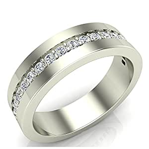 0.45 ct tw Men's Diamond Wedding Band Semi-Eternity Wedding Ring 18K White Gold (Ring Size 8.5)