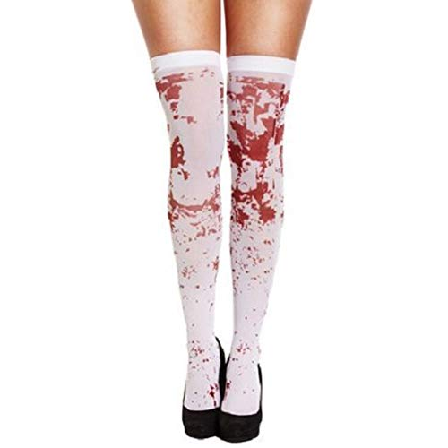 Carole4 Blood Stains Stockings, Halloween Adults Women's High School Horror Zombie Schoolgirl Costume Spooky White Hold Up Blood Stained Womens Stockings,One Size,White(White)