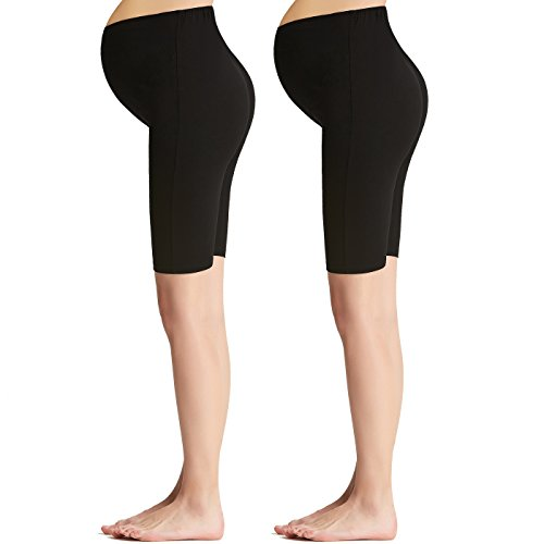 Liang Rou Maternity Belly Support Mini-Ribbed Stretch Short Leggings 2-Pack Black L