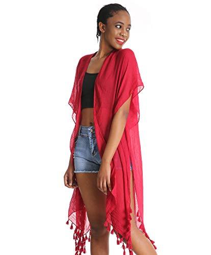 Women Floral Kimono Swimsuit Cover Up Cardigan - Red Long Chiffon Print Swimwear Beach Bathing Bikini Coverup Boho Batwing Loose Tops Outwear Kimono Dress Plus Size Loose Sleeve Shawl