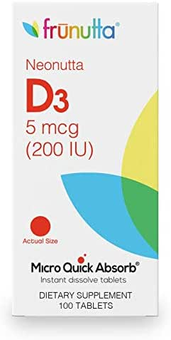 Frunutta Neonutta Children's Vitamin D3 200 IU, Under The Tongue Instant Dissolve Tablets, 3 Month Supply, Proudly Made in USA