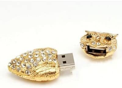 8GB USB Crystal Gold Colored Owl Style USB Flash Drive with necklacev