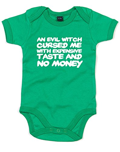 Curse, Printed Baby Grow - Kelly Green/White 6-12 Months (Witch Makeup Pinterest)