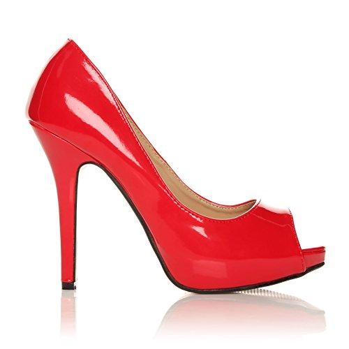 TIA Vernis Plateforme ouvert aiguilles Chaussures à Bout Rouge talons T1TZ4