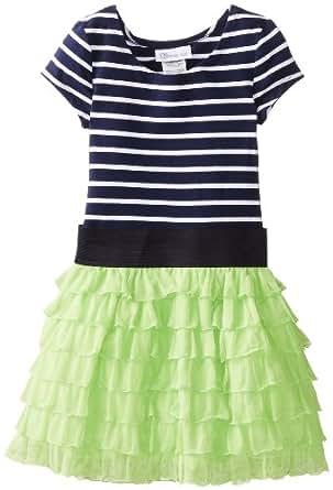 Bonnie Jean Little Girls' Dress Stripe To Eyelash Skirt, Green, 6