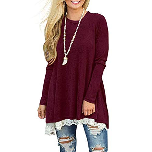 Blouses for Womens,DaySeventh Womens Ladies Casual Lace Long Sleeve Shirt Pullover Tops Blouse