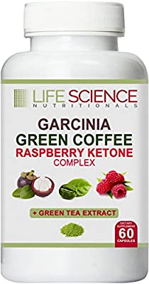 Best 4-in-1 GARCINIA CAMBOGIA, GREEN COFFEE BEAN & RASPBERRY KETONES + GREEN TEA (1300mg) - Dr Recommended Natural Supplement For Healthy Fat Burn, Weight Loss & Appetite Suppressant (60 caps, 4 Oz)