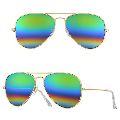 BNUS Corning natural glass New Pilot Sunglasses Italy made with Polarized Choices (Frame: Matte Gold / Lens: Green rainbow, - Aviators Rainbow