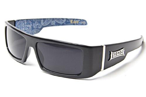 LOCS Black Harcore 58 Blue Bandana Inside - Sunglasses Inside