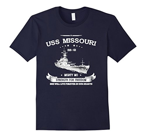 Mens USS MISSOURI BB-63 Tshirt Large Navy (Uss Bb Missouri)