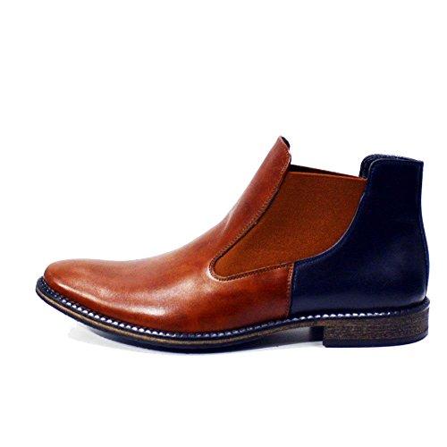 Modello Città di Castello - Handgemachtes Italienisch Leder Herren Braun Stiefeletten Chelsea Stiefel - Rindsleder Weiches Leder - Schlüpfen