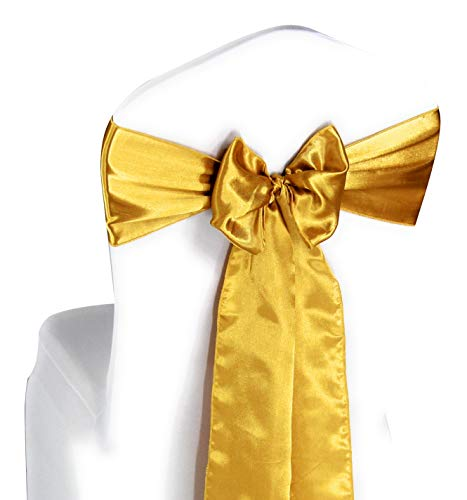 Gold Satin Chair Sashes Ties - 100 pcs Wedding Banquet Party Event Decoration Chair Bows (Gold, 100)