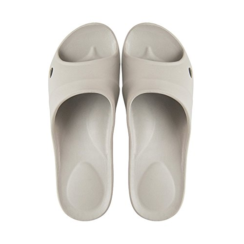 TELLW Summer Cool Slippers Female Anti-Slide Bathroom Men's Bath Hotel Super Light Slippers Men Gray ozIl0p