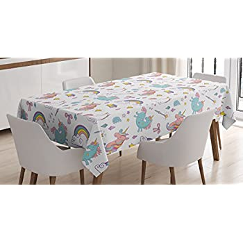 Beau Unicorn Home And Kids Decor Tablecloth By Ambesonne, Magic Unicorn Forms  With Colorful Fantasy Cloud
