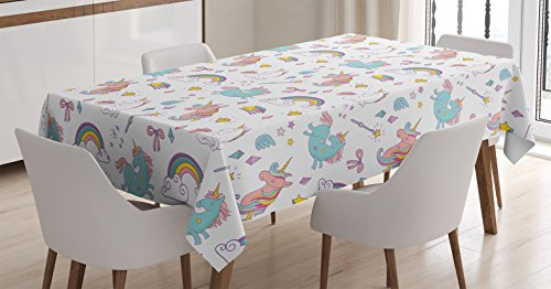 Unicorn Home and Kids Decor Tablecloth by Ambesonne, Magic Unicorn Forms with Colorful Fantasy Cloud and Rainbow Pattern, Dining Room Kitchen Rectangular Table Cover, 60W X 84L Inches, Multi by Ambesonne