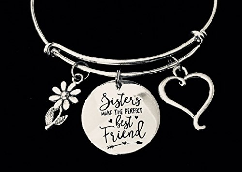 Sisters Make the Perfect Best Friends Adjustable Bracelet Expandable Charm Bracelet Bangle Gift Personalization Options Available