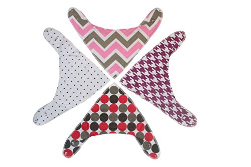Bandanna Drool Bibs for Teething Baby Infant Girls 4 Pack Set
