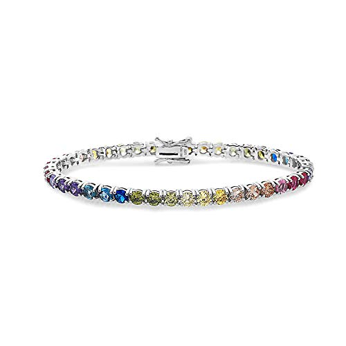 Colorful Sterling Silver 4mm Round Cut Tennis Bracelet, Colorful stones bracelet,Multi Colored round cut bracelet,Multi Colored Sterling Silver tennis bracelet,Gift for her,Gift for mom ... (White, 7)