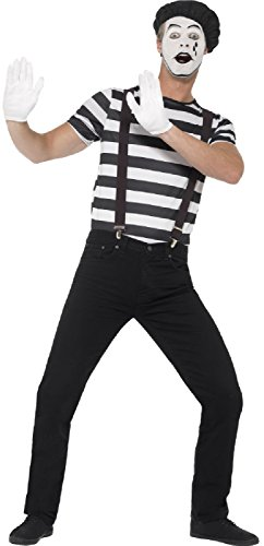 Mens Black & White French Mime Artist Theatrical Performer Clown Carnival Circus Halloween Fancy Dress Costume Outfit M L (Men: Medium) -