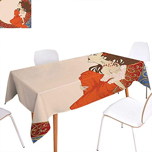 familytaste Art Nouveau Dinner Picnic Table ClothAntique Woman in an Old Fashioned Medieval Dress Floral Rich Framework Print Waterproof Table Cover for Kitchen 60