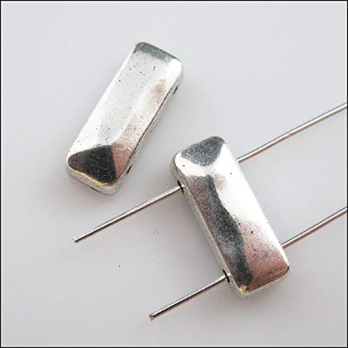 Calvas 8Pcs Antiqued Silver 2-Hole Rectangle Spacer Bar Beads Connectors Charms - Connector 2 Silver Hole