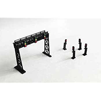Outland Models Train Railway Layout Signal Gantry and Block Signal Set Z Scale