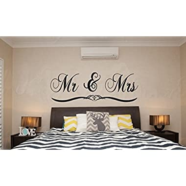 Boodecal Mr And Mrs Bedroom Headboard Decals Stickers Inspirational Wall Quotes Sayings Art Vinyl Decals Letters Home Decoration (Large)