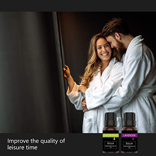 Essential Oils Set, ESSLUX TOP 6 Aromatherapy Essential Oils for Diffuser, Candle Making & Massage, Lavender, Tea Tree, Orange, Rosemary, Lemongrass, Peppermint Essential Oil