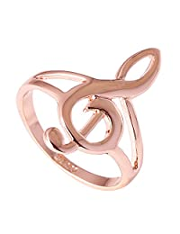 Acefeel New Lovely Musical Note Symbol Rose Gold Plated Smooth Fashion Women's Ring R236