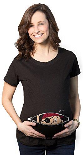 Crazy Dog TShirts - Maternity Peeking Pirate Baby Funny Pregnancy Announcement Gift T shirt - damen -
