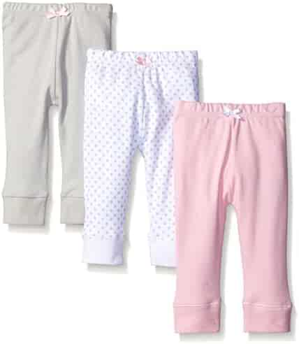 Luvable Friends Baby Girls' Cotton Tapered Ankle Pants,