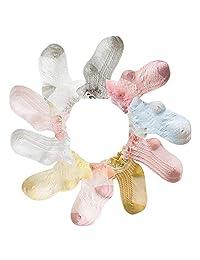 Baby Girls' Summer Princess Socks Eyelet Lace Ankle Socks for Infant Toddlers Kids Little Girl 1-7T 10-Pairs