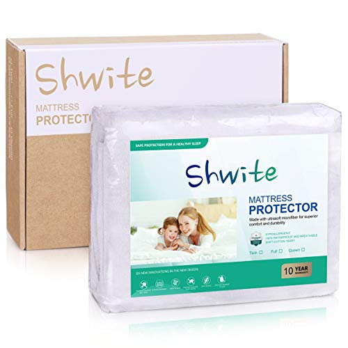 Shwite Premium Hypoallergenic Waterproof Mattress Protector Qween Size, Breathable Soft Cotton Terry Surface, Vinyl Free