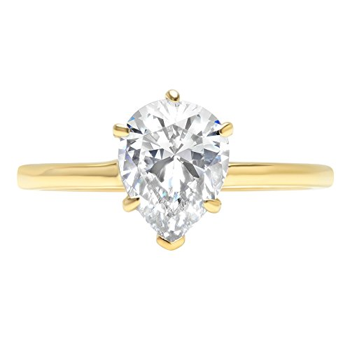 1.0 ct Brilliant Pear Cut Solitaire Highest Quality Moissanite Ideal VVS1 D 6-Prong Engagement Wedding Bridal Promise Anniversary Ring in Solid Real 14k Yellow Gold for Women, Size 7.5 (1 Ct Pear Solitaire)