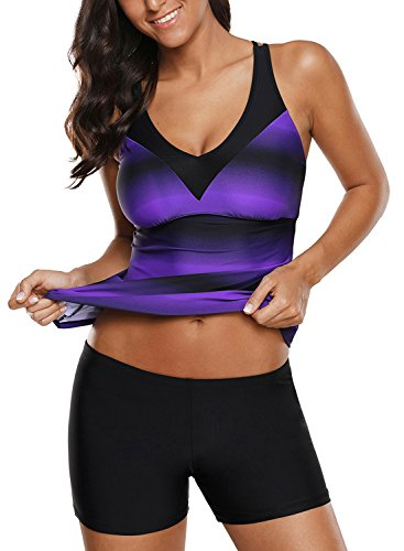 Dokotoo Womens Plus Size Summer No Underwire Bandeau Printed Backless 2 Piece Sporty Athletic Tankini Tops Swimsuit Tops Bathing Suit Modest Swimwear with Swim Shorts Purple XXXL (Best Bathing Suit Tops For Large Breasts)