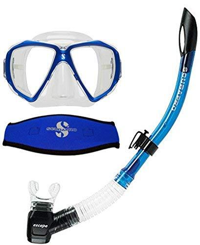 Scubapro Spectra Mask (Blue) w/Neoprene Strap Cover & Escape Semi-Dry Snorkel
