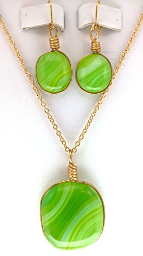 Green Striped Glass Pendant and Earrings with 16 Inch Gold Plated Chain ()