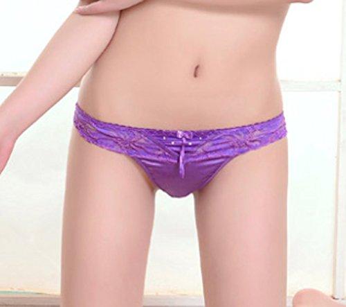 Sexy Satin und Spitze Damen Höschen / String / Thong Größe 36-40 Lila