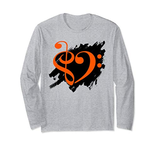 Treble Clef Bass Clef Orange Heart Grunge Brush Strokes Bassist Long Sleeve T-Shirt