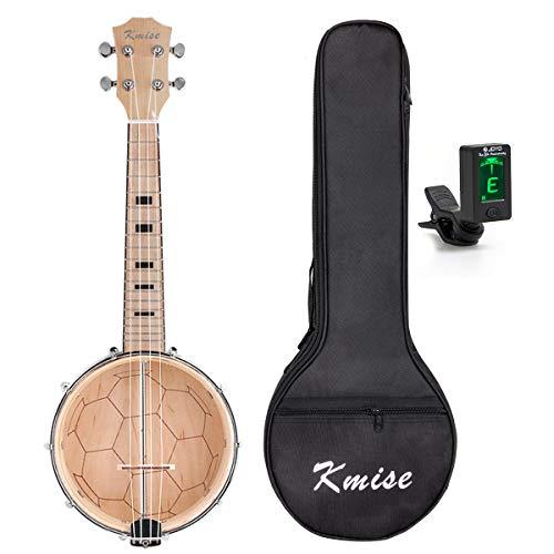 Kmise ZASTPBanjo Ukulele Ukelele Uke With Bag Tuner Concert 4 String 23 Inch Maple Wood From