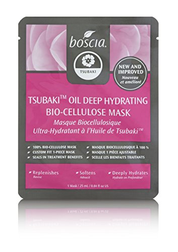 boscia Tsubaki Oil Deep Hydration Bio-Cellulose Mask - Natural Japanese Tsubaki (Camellia) Oil Hydrating Sheet Face Mask for Dry Skin, 1 Sheet