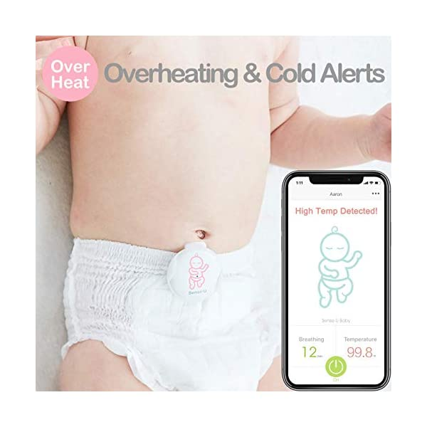 (Body Temp Version) Sense-U Baby Monitor with Breathing Rollover Movement Temperature Sensors: Tracks Your Baby's… 4