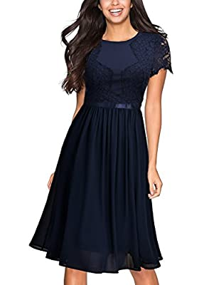 Miusol Women's Vintage Floral Lace Chiffon Slim 1920's Evening Party Dress